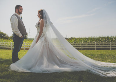 Bride & Groom at Meadow Brook Barn
